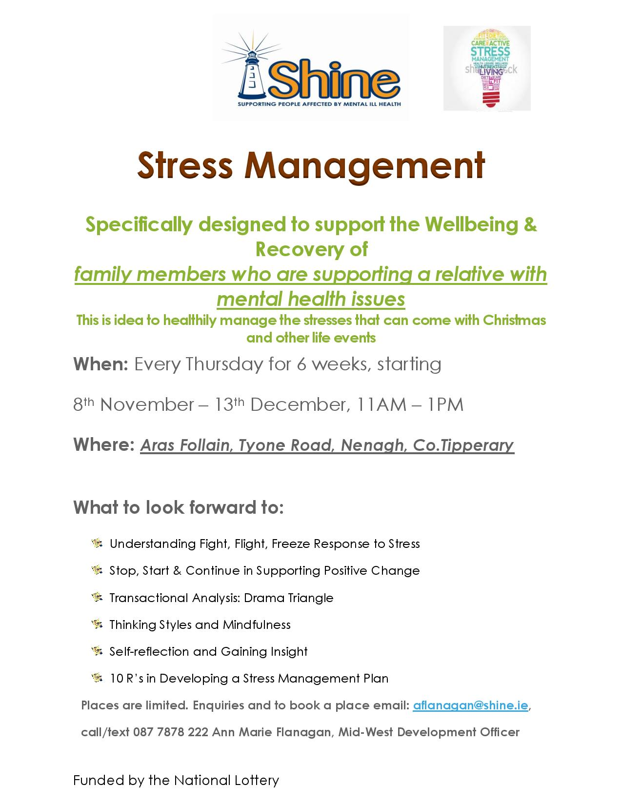Stress Management Course in Nenagh, Co  Tipperary - Shine